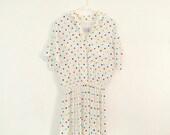 1980s rainbow polka dot pleated dress , secretary dress , shift dress