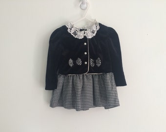 1980s baby girls velvet gingham plaid checkered lace collar trim peplum dress