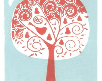 Partridge in a Pear Tree Print - Christmas Limited Edition of 12  Linocut - Lino Print - Red Bird - Printmaking Art Gift -  Artist Print