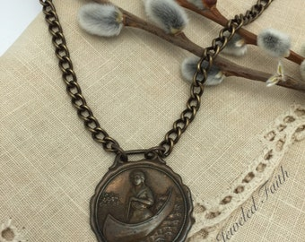 Canoe Necklace Vintage Canoeing Medal Necklace