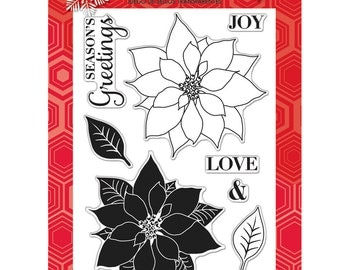 Peace Poinsettias - Clear Acrylic Stamps from Hero Arts