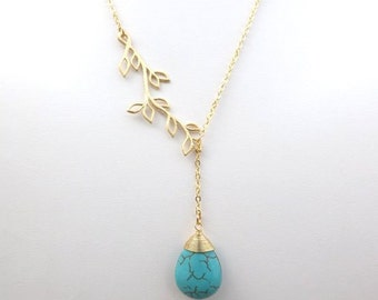 Turquoise Necklace. Long Necklace. Turquoise Blue.Leaf Necklace.Gold Leaf Lariat.Bridesmaid Gifts.Minimalist.Simple.Everyday.Bridal Jewelry.