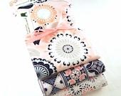 Baby Girl Burp Cloth Set - Modern Prints:  peach, coral, and navy