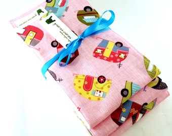 Baby Girl Burp Cloth Set -  Camper Trailers, Retro, Scamp
