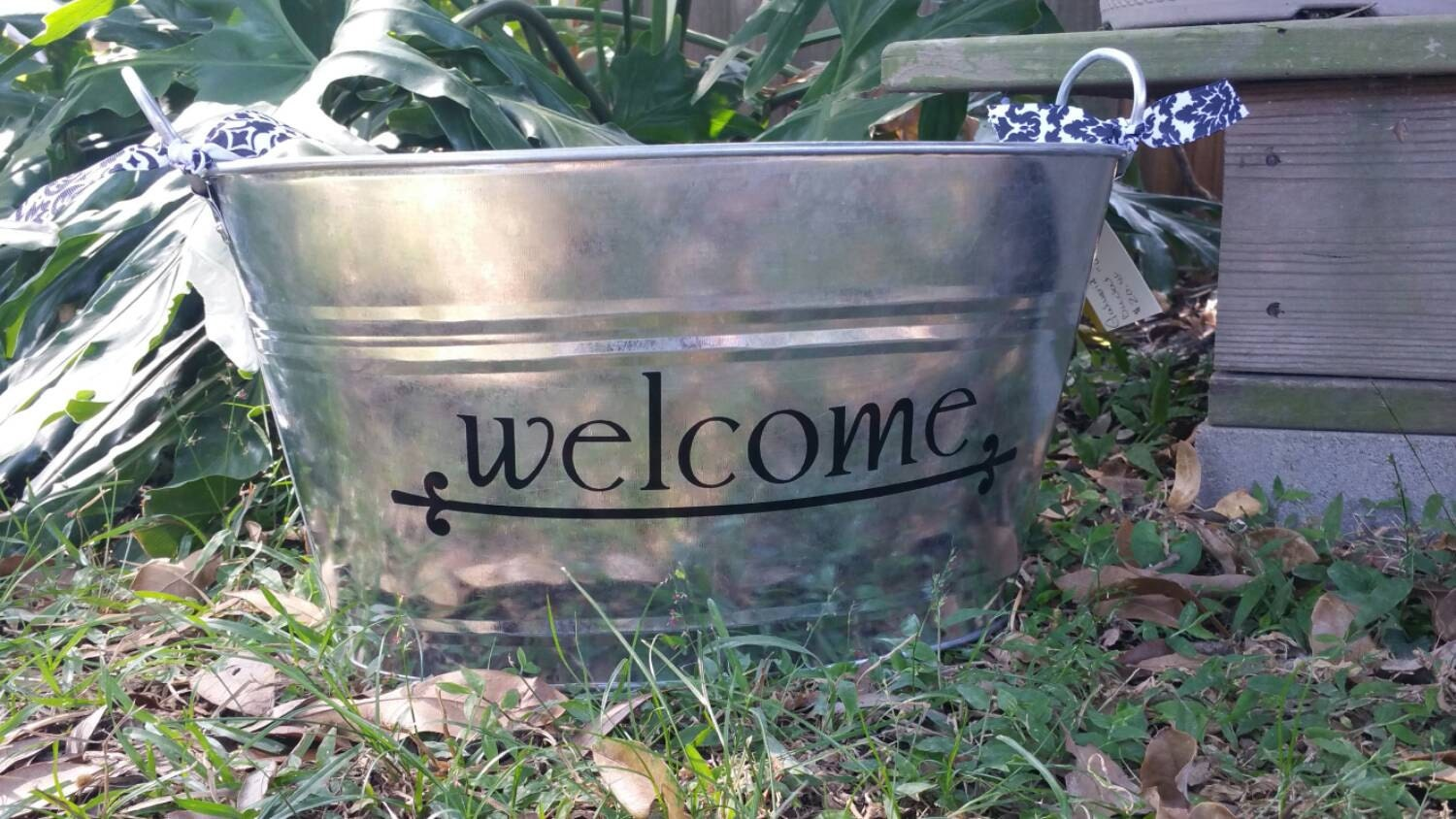 Welcome oval metal tub ice bucket beverage tub storage for Tin tub planters