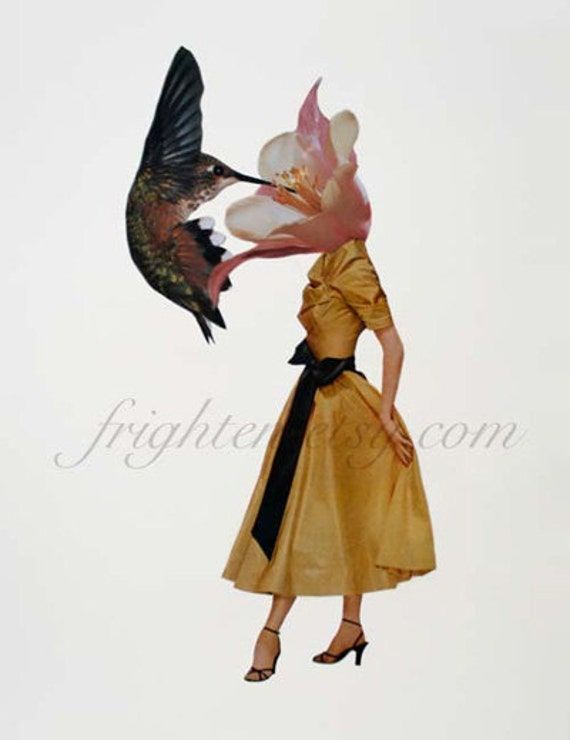 Surreal Art, Paper Collage Print, Hummingbird Art, Spring Art Print, Nature Art, Floral Art, Avant Garde Decor, Unusual Wall Art