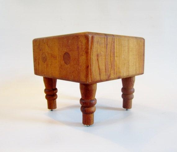vintage butcher block cutting board prep station mini size
