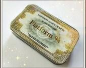 London to Hogwarts  - large pillbox tin / stash case