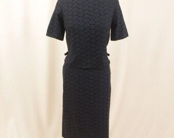 1960s Black Eyelet Suit * Black Suit *  1960s Wiggle Skirt * 60s Suit * Black Eyelet Dress * Wiggle Dress * Summer Dress * Sundress