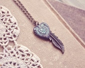 boho patina heart and feather necklace.