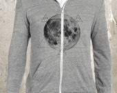 Moon & Geometry Hoodie - Men's/Unisex EcoJersey Hoodie - Men's Small Through 2XL Available