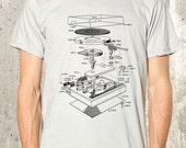Men's T-Shirt - Vinyl Turntable Diagram - Men's Screen Printed T-Shirt - American Apparel - Men's Small Through 2XL Available