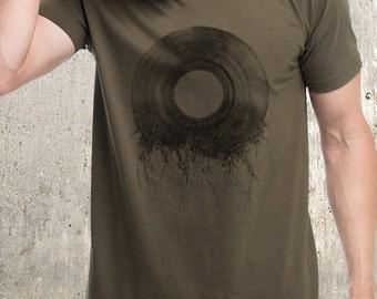Vinyl Record Roots T-Shirt - Men's Screen Printed American Apparel Shirt