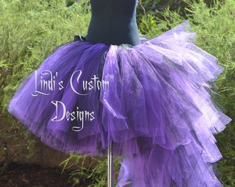 Purple and Black Bustle Tail Masquerade Tulle Tutu for Parties, Pageants, Costume, Halloween, Children to Adults Custom Sizing