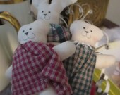 Vintage Hand Sewn Primitive Cloth Rabbit Bears Animals Toys Handmade Stuffed Animals Prims YourFineHouse