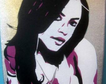 Original Hand-Cut Aerosal Stencil Painting of Aaliyah on Canvas