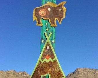 Buffalo / Bison Totem  - Salvage Rust Metal - Painting - Original Folk Art -  Cathy DeLeRee