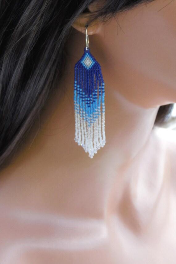 Long Ombre Earring Seed Bead Earrings By Creationsbywhitewolf