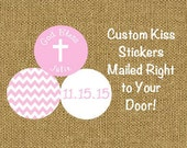PRINTED 108 Pink Kiss Stickers for Baptism Christening or First Communion Pink & White Chevron Labels ***DISCOUNTS AVAILABLE***