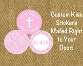 108 PRINTED Candy Kiss Labels for Baptism Christening or First Communion Stickers in Pink Damask ***DISCOUNTS AVAILABLE***