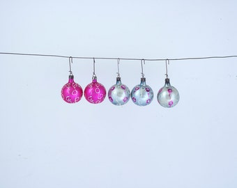 Set of 5 Hand Painted Vintage Christmas Glass Ornaments