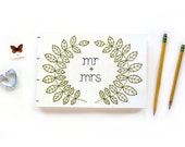 Embroidered Wreath Wedding Guestbook | One-of-a-kind, Hand Stitched, Handbound