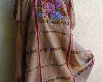 """Collector SuperFino Huipil hand woven natural dyes Amuzgo Rosa pattern tunic dress boho resort Frida Kahlo 32""""W x 38""""L"""