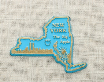 New York Vintage State Magnet | Travel Souvenir Summer Vacation Memento | Gold Blue The Big Apple NYC USA America Fridge Christmas Pre 9/11