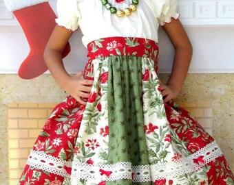 "Girls Christmas Dress ""Mistletoe""  size 2-8  Childrens Holiday Clothing"