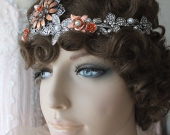 Wedding Headpeice crown veil Gatsby 1920s headband copper silver rhinestone