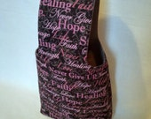 Medium Hope, Love and Strength Breast Cancer Awareness Yarn Bag Project Tote S87