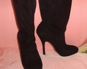 PRADA Boots, SALE,  Black Suede Leather, Stiletto Heel. Slouchy, made in Italy, Size 9, Fashionista Designer, Worn Once