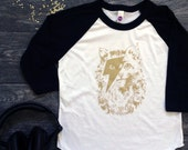 Kitty Stardust - David Bowie Cat with Lightening Bolt - Kids Baseball Tee - Black and Gold