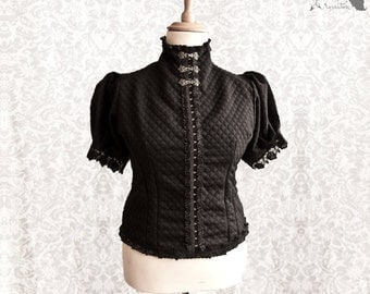 Blouse black, Victorian, romantic goth, Steampunk noir, Devota, Somnia Romantica, size large - extra large see item details for measurements