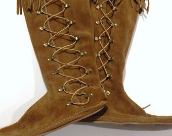 Vintage Minnetonka Boots - Tall Moccasin Boots - Minnetonka Moccasins - Lace Up Boots - Suede Fringe Boots