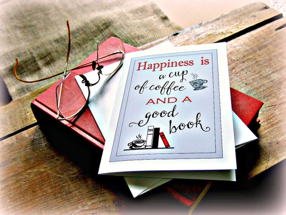 Coffee Greeting Card,Book & Coffee Greeting Card,Coffee Book Greeting Card, Coffee Stationary, Book Stationary