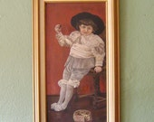 Antique Painting of Boy in Gray Unsigned 1890s F. W. DeVoe & Company Board Gold Frame Vintage Art Oil Painting
