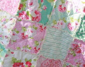 Crib Rag Quilt Baby Girl Crib Bedding Shabby Chic Nursery Pink Aqua Nursery