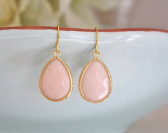 Blush Wedding, Blush Earrings, Gold Earrings, Bridesmaid Earrings, Bridesmaid Gifts, Birthday Gift, Best Friend Gifts for her, Pink Earrings