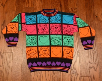 vintage cat sweater 80s 90s neon rainbow color block Hot Cashews purple heart sweater youth large adult XS small