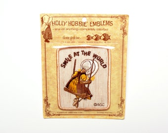 vintage 70s Holly Hobbie patch Smile At The World Three Fish Inc American Greetings Corp 1970 vintage sewn on patch emblem