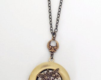 Steampunk Inspired  Pendant Vintage Watch Movement - Dragonfly & Crystal
