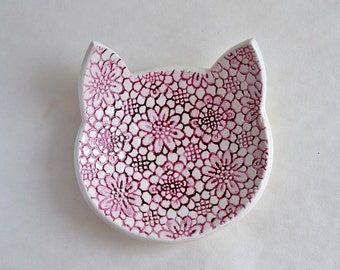 MEOW! Cat face lace dish - ceramic jewelry dish with gold and pink - wedding ring bearer - ring dish plate
