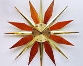 TEMPORARY HOLD for WHITNEY! Mid century Starburst Clock by Ingraham.  Sunburst clock, disassembles.