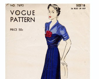 1930s Dress Bust 36 Vintage Vogue Sewing Pattern Dress with tucks on bodice and sleeves Size 18 from 1937 Vogue 7693