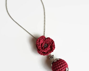 Red Crochet necklace, cotton and silver necklace, long necklace rose and bead, handmade in Italy, romantic necklace, Renaissance jewelry