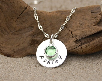 Birthstone Name Necklace, Girls Name Necklace, Personalized Birthstone Necklace, Birthday Necklace Daughter, Gift for Daughter from Dad