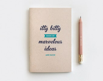 Back to School SALE Midori Travelers Notebook & Gold Foil Pencil Set, Graduation Gift, Birthday Gift - Itty Bitty Book of Marvelous Ideas, R