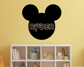 Mickey Mouse Wall Decal - Personalized Name - Vinyl Sticker Boys Bedroom Wall Decor - WD0411