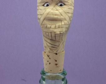 Hand carved bottle stopper scary mummy Halloween OOAK wood carving gift for him/her collectible caricature bar decor Old Bear Woodcarving
